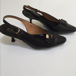 Tod's black heel with gold buckle